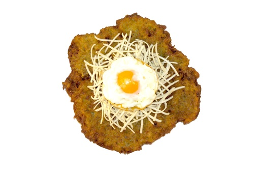 Potato pancake with horseradish and egg